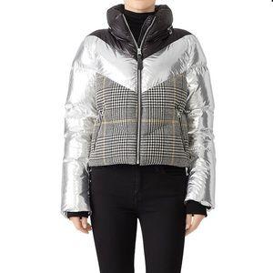 Mackage metallic mixed media plaid puffer coat
